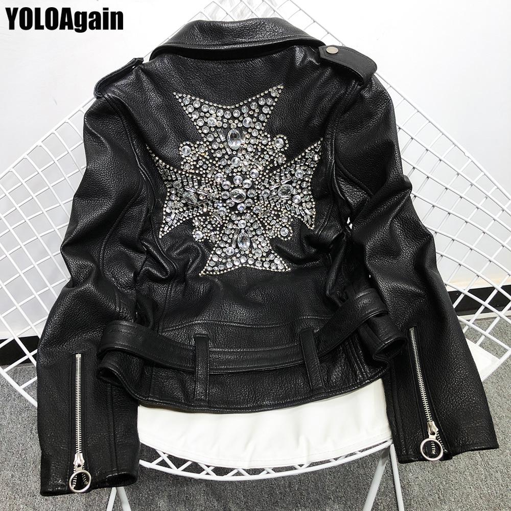 YOLOAgain, chaqueta de cuero genuino para mujer, chaqueta de piel de oveja auténtica con abalorios de alta calidad para mujer