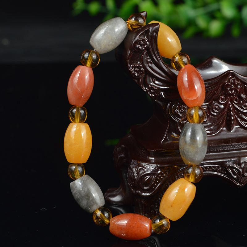 Natural pulseira jade pedra bruta de seda ouro atacado