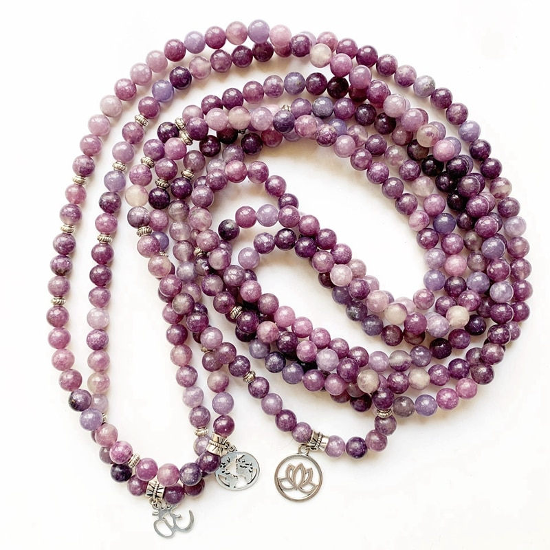 Piedras de lepidolita Natural 108 Mala cuentas pulseras collares Lotus encanto Reiki sanación espiritual budismo joyería 1pc