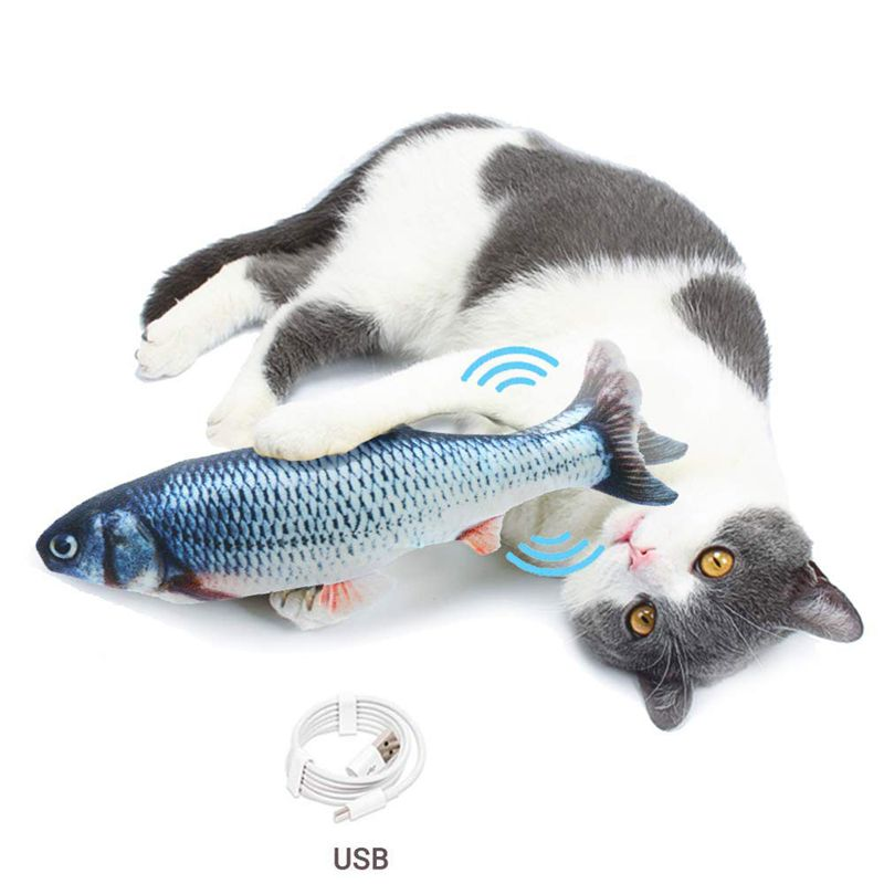 Electric Cat Toys Fish Interactive USB Charging Realistic 3D floppy Fish toys for Cats Puppy Dog Pet Chew Bite Toys Pet Supplies