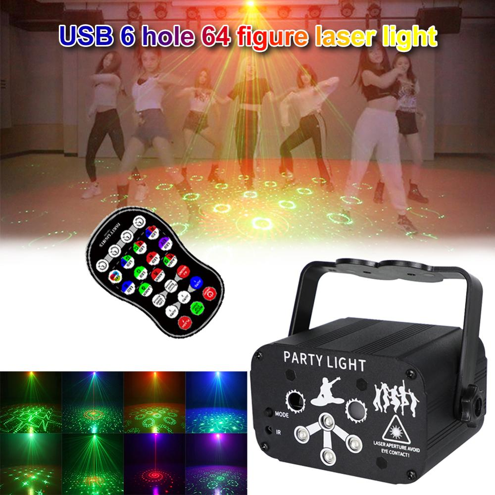 led disco light 18w dmx 512 dj rgb led party lights sound actived remote control disco lamp color changing stage lamp wedding NEW USB 8 Hole 128 Pattern Projector Remote/Sound Actived LED Disco Light RGB DJ Party Stage Light Lamp Decoration Dropshipping