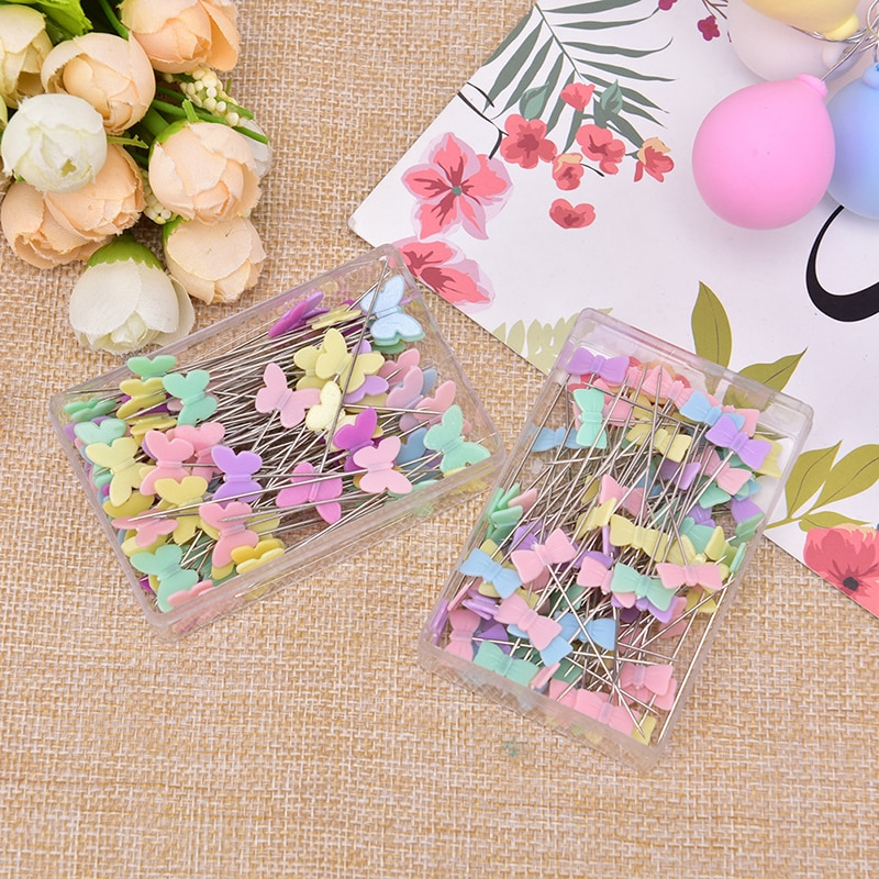 100Pcs/lot Sewing Accessories Patchwork Pin With Box DIY Button Head Pins DIY 100pcs lot 3 20colors diy polyester fluffy ballerina chiffon flower with pearl button in centre handmade accessories