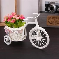 2 pieces tricycle shaped flower basket wedding party ceremony decoration bike flower storage container pink