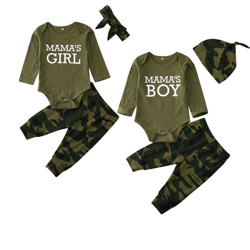 3PCS Newborn Infant Baby Boys Girls Camo Clothes Sets Long Sleeve Bodysuit Pants Outfits Tracksuit Baby Clothes 0-24M