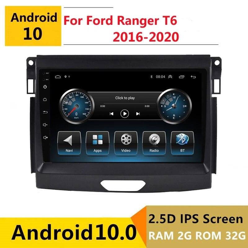 ستيريو سيارة أندرويد لفورد رينجر T6 2016 2017 2018 2019 2020 جهاز التتبع بالراديو GPS مشغل وسائط متعددة و headunit