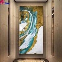 Peinture murale abstraite en diamant  broderie artistique  bleu or  Style 5d  bricolage  point de croix  images  decor de maison