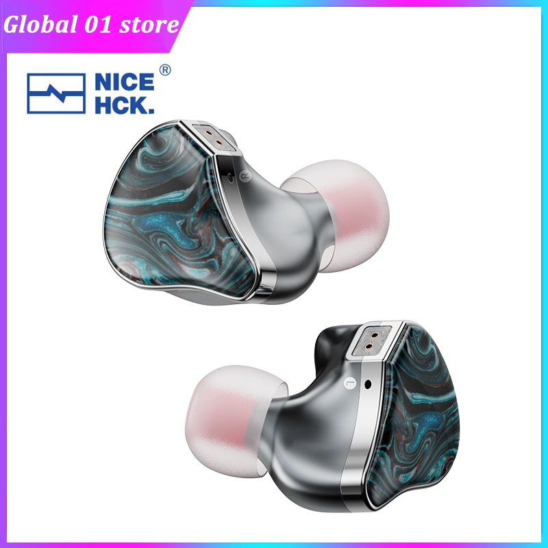 NiceHCK topman HIFI سماعة 10 مللي متر سبائك التيتانيوم المغنيسيوم الراتنج الديناميكي مرحبا Res السمعية استوديو سماعات الأذن 2Pin استبدال كابل