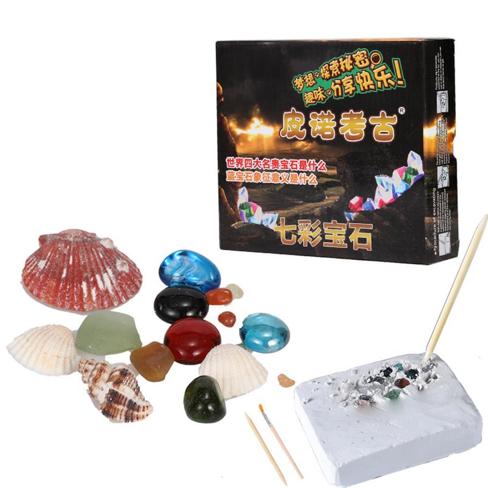 DIY gemas de imitación equipo de excavación simulación arqueología excavación juguete gema modelo niños aprendizaje juguete educativo para niños regalos