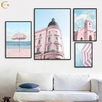 sea beach tram church blue sky building canvas painting nordic wall art posters and prints wall pictures for living room decor