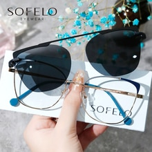 Fashion Magnet Clip On Eyeglasses Women Cat Eye Optical Prescription Sunglasses Female Myopia Progre