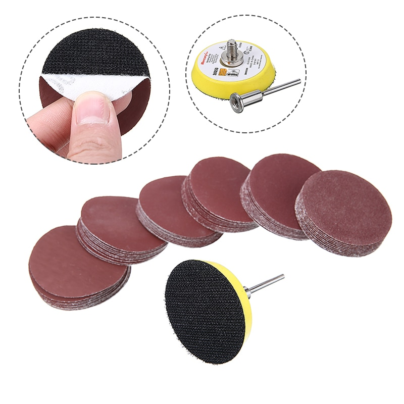 60pcs 100/240/600/800/1000/2000 Grits Sanding Disc Set 2inch 50mm+ Loop Sanding Pad  with 3mm Shank For Polishing Cleaning Tools недорого