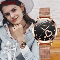 2020 Fashion Women's Analog Quartz Rose Gold Watch Mesh Strap Ladies Waterproof Wristwatch Simple and Elegant with Bracelet Gift
