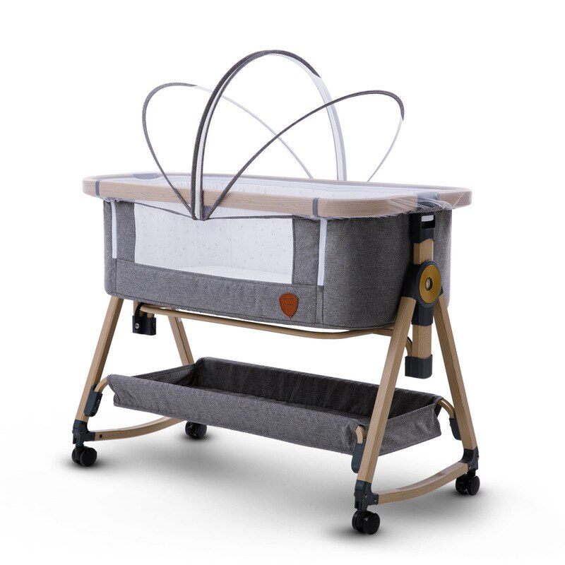 The New Baby Crib Can Be Folded and Portable Without Installation Splicing Large Crib Mute Mobile Baby Cradle Bed