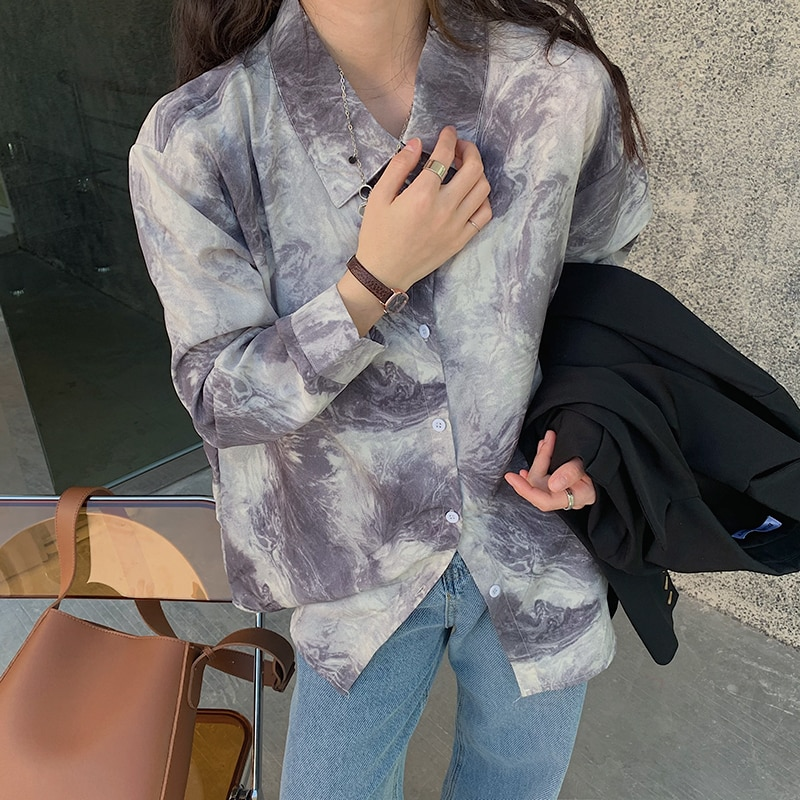 HziriP Lapel Chic Gentle Shirts Vintage Printed 2021 High Street Women OL Elegance Loose Casual Tops Blouses All Match Clothe