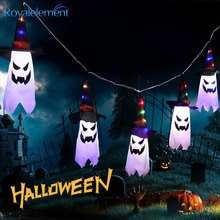 Ghost Wizard Hat LED String Lights Halloween Festival Decoration Home Outdoor Lamp Battery Holiday K