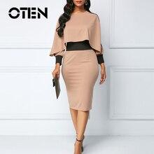 OTEN Patchwork Long Sleeves Autumn 2019 Women Dress Cloak Elegant Pencil Midi O-Neck Party Office Plus Size Ladies Clothing Blue