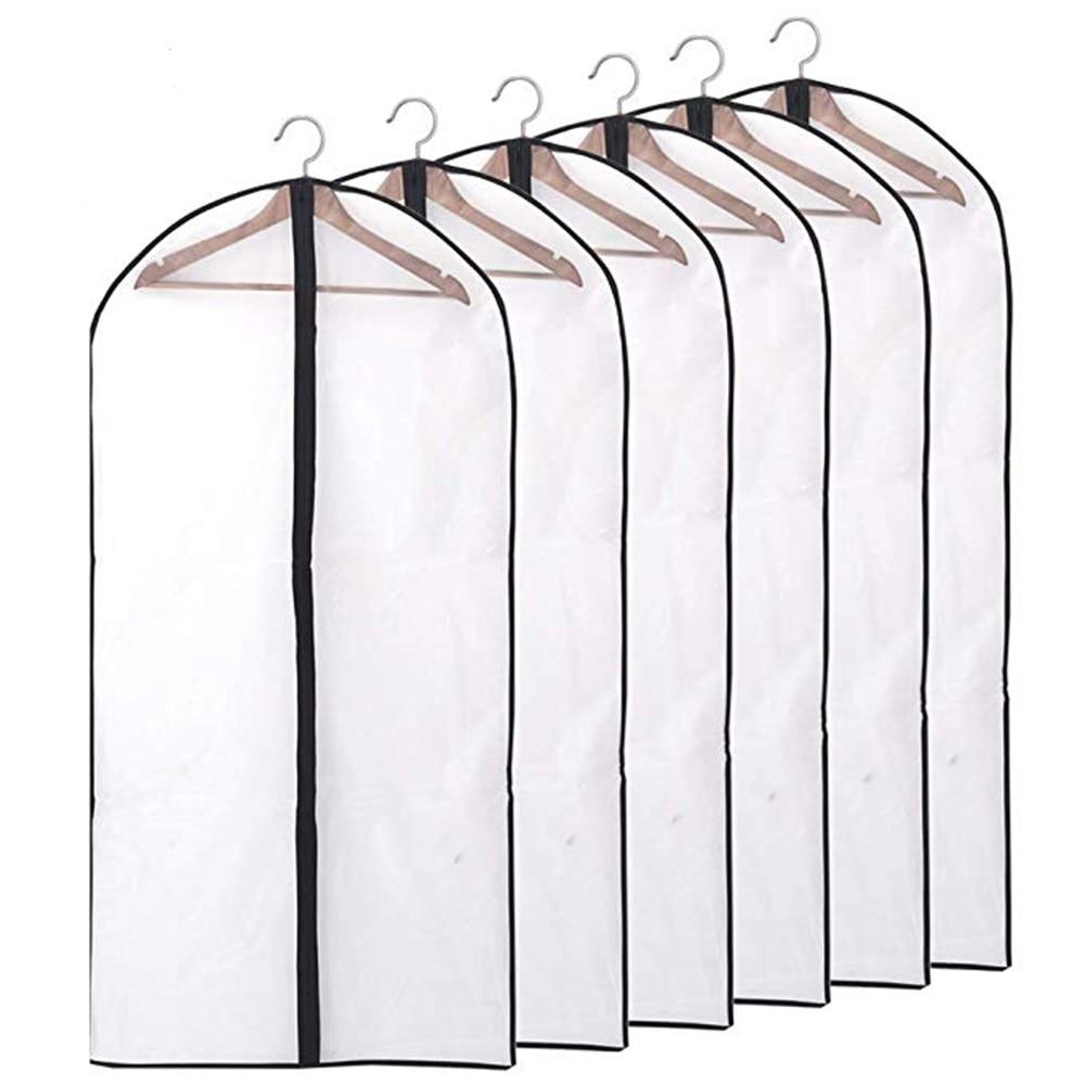 6pcs/set Transparent Clothing Covers Garment Suit Dress Jacket Clothes Coat Dustproof Cover Protecto