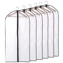 6pcs/set Transparent Clothing Covers Garment Suit Dress Jacket Clothes Coat Dustproof Cover Protecto