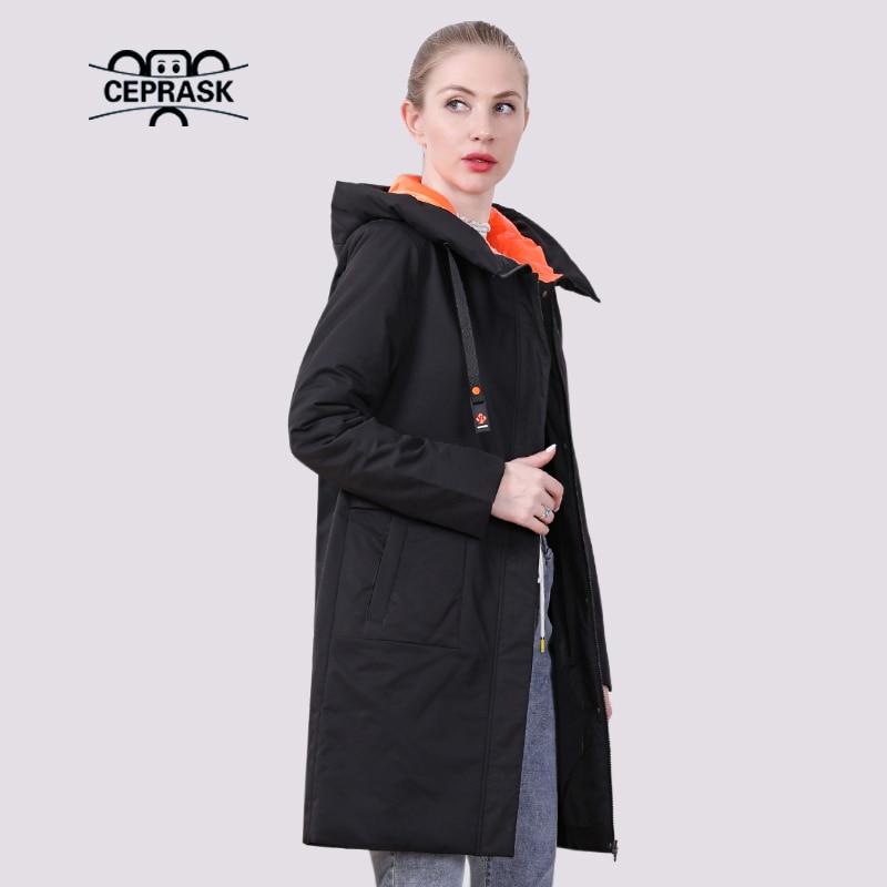 CEPRASK 2021 ربيع جديد سترة نسائية عادية رقيقة موضة أنثى مبطن معطف الخريف مقنعين طويل سترات ملابس خارجية