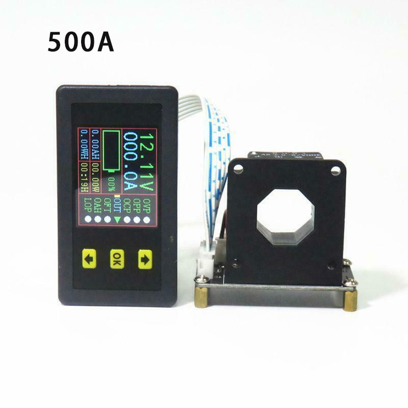 Medidor de Combinação Capacidade da Bateria Monitoramento de Energia Amygojj 500a Lcd Tensão Kwh Watt Atual Medidor 12v 24v 48v 96v dc 120v 100a 200a