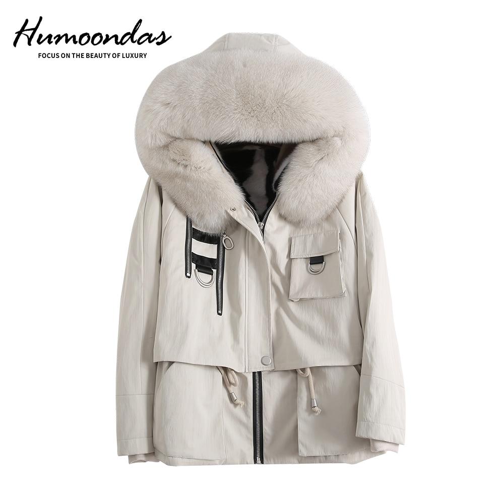 Humoondas Real Mink Fur Coat Waterproof Parka Winter Jacket Women Natural Fox Fur Hood Detachable Short Outerwear Thick Warm aorice b1810106 women s winter warm real wool fur jacket hood collar leisure girl coat lady jacket over size parka