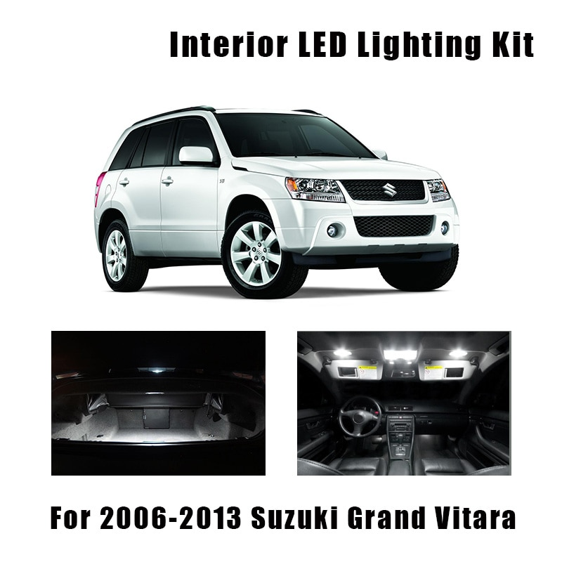 12 Bulbs LED Interior Light Kit Xenon White Lamps For 2006-2011 2012 2013 Suzuki Grand Vitara Map Dome Trunk License Plate Lamp