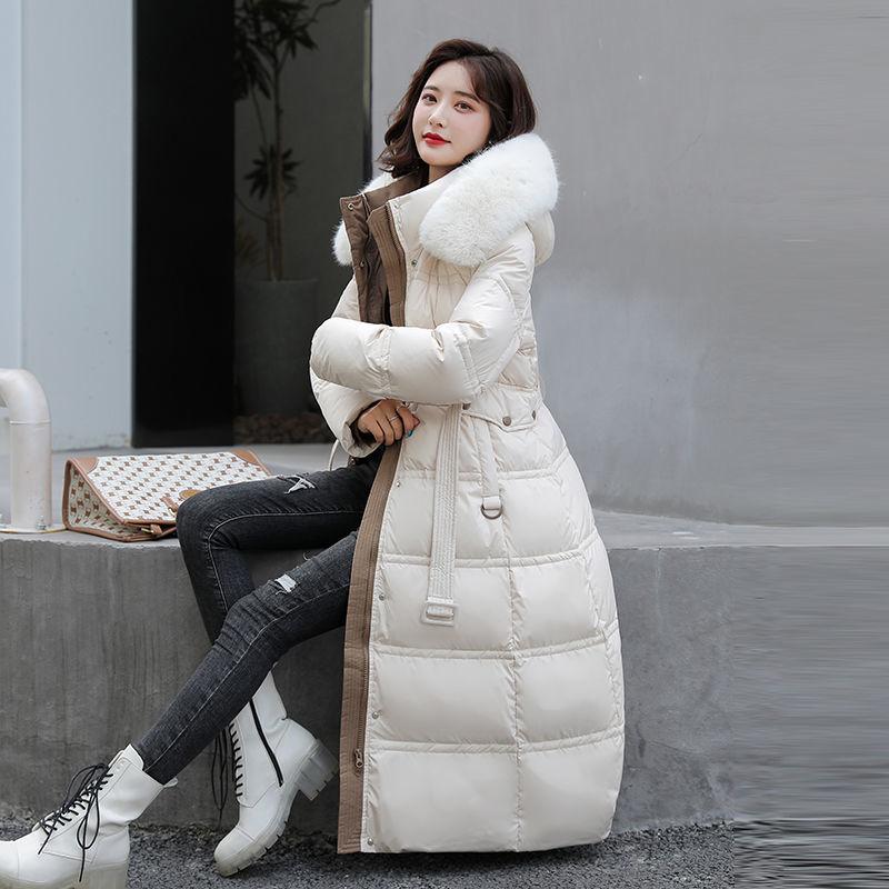 الشتاء المرأة مقنعين الفراء طوق سترات 2021 جديد بلون حزام منتصف طول ضئيلة أسفل سترة قطن الملابس النسائية معطف A03150