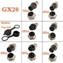 Connecteur daviation GX20 2-8 broches mâle femelle 2/3/4/5/6/7/8P, prise de panneau de fil, capuchon en caoutchouc, adaptateur de couverture étanche 2 pièces