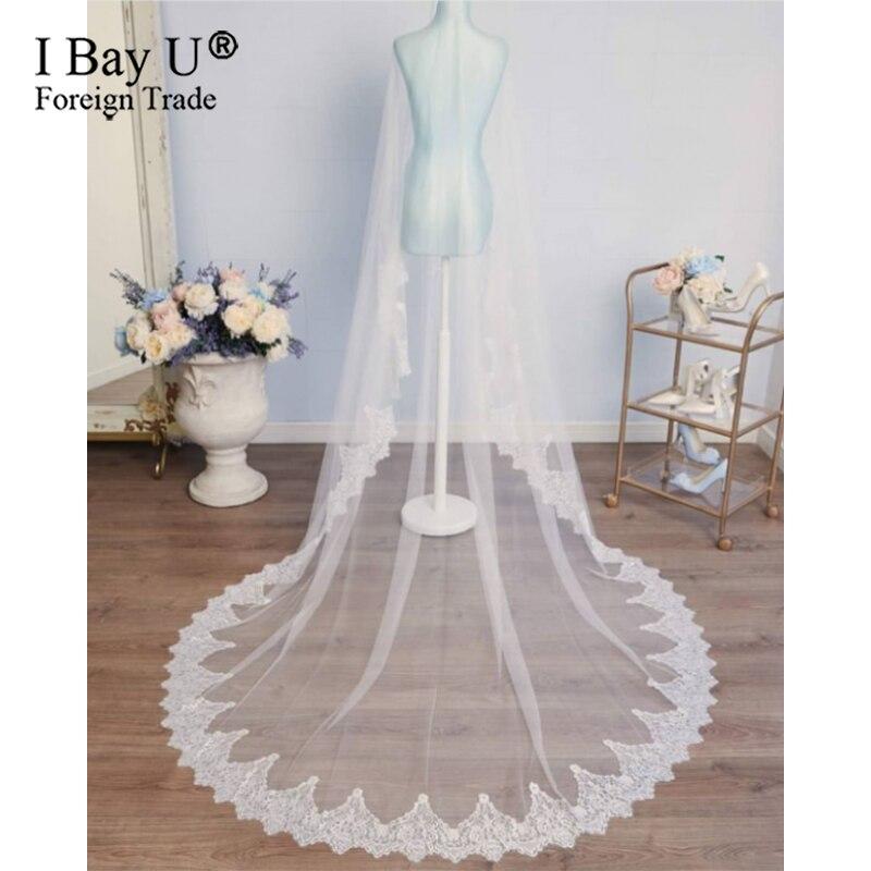 Boa qualidade frança design macio rendas acessórios de casamento longo aplique uma camada véu casamento para a noiva 2020 voile mariage