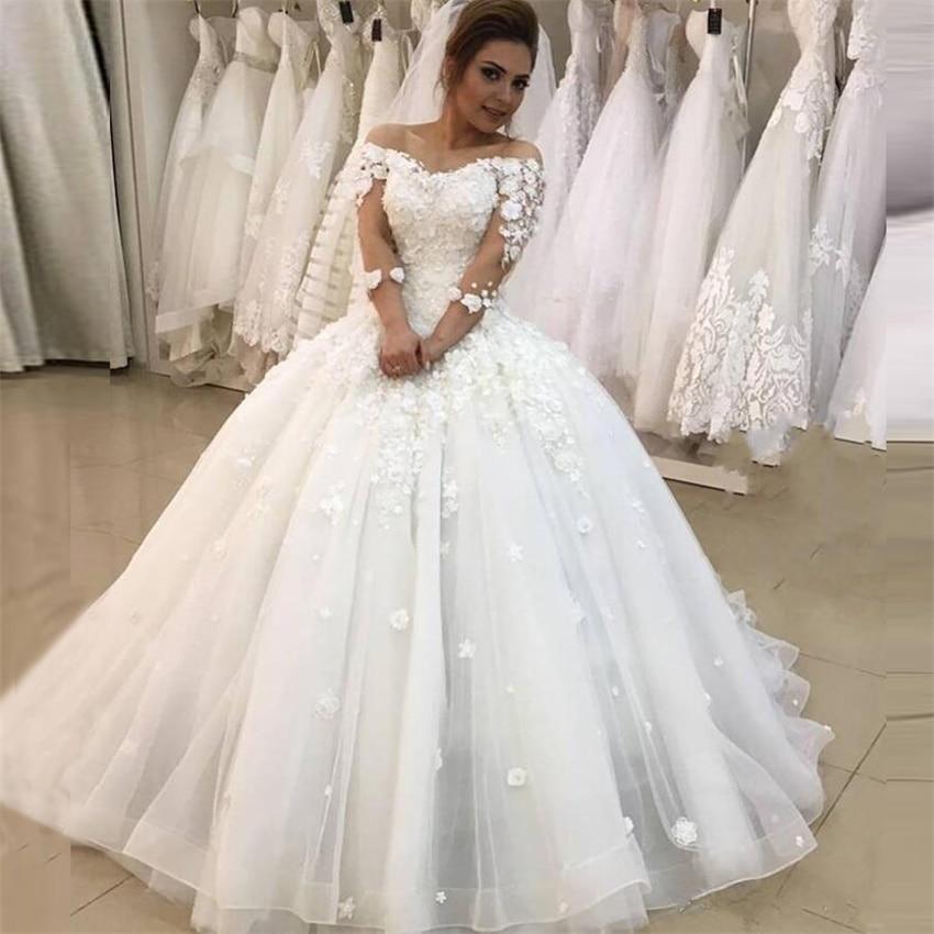 2021 nuevo mangas de tres cuartos bola vestido boda vestidos flores vestido...