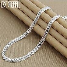 DOTEFFIL-collar de plata de ley 925 para hombre y mujer, cadena de 6mm con lados completos, 18/20/24 pulgadas, joyería de compromiso de boda a la moda