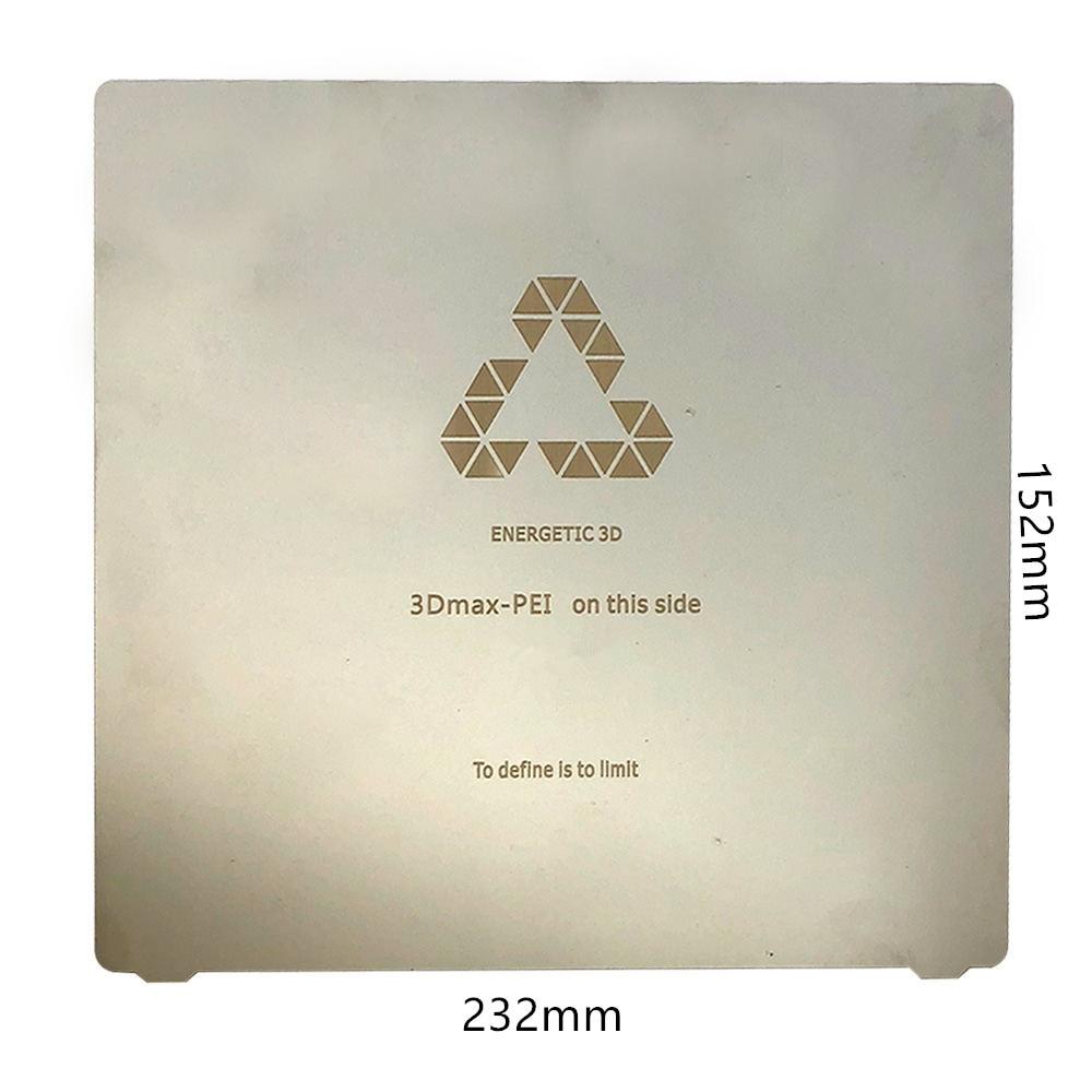 ENERGETIC 3D Printer Platform,Heat Resistant Plate,Flat Spring Steel PEI Sheet 165x165mm for Ender-2 3D Printer Hot Bed