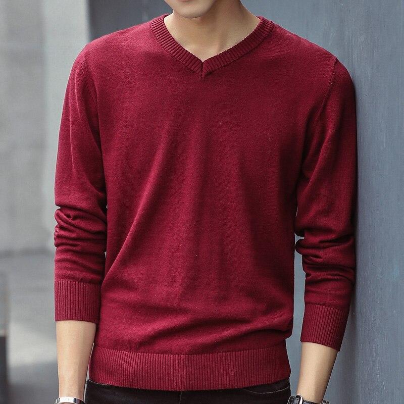 Мужской свитер, повседневные Пуловеры сезона осень 2020, мужские однотонные Хлопковые вязаные брендовые свитеры с V-образным вырезом, притале...