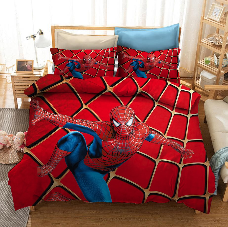 Disney Spider Man Series Graphic Bedding Set Animation Boy Red Duvet Bed Cover Pillowcase Bedroom Decoration Home Textile