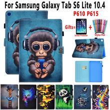 Housse de tablette pour Samsung Galaxy Tab S6 Lite 10.4 P610 P615 étui intelligent doux antichoc Animal rabat anti-dérapant support coque en cuir