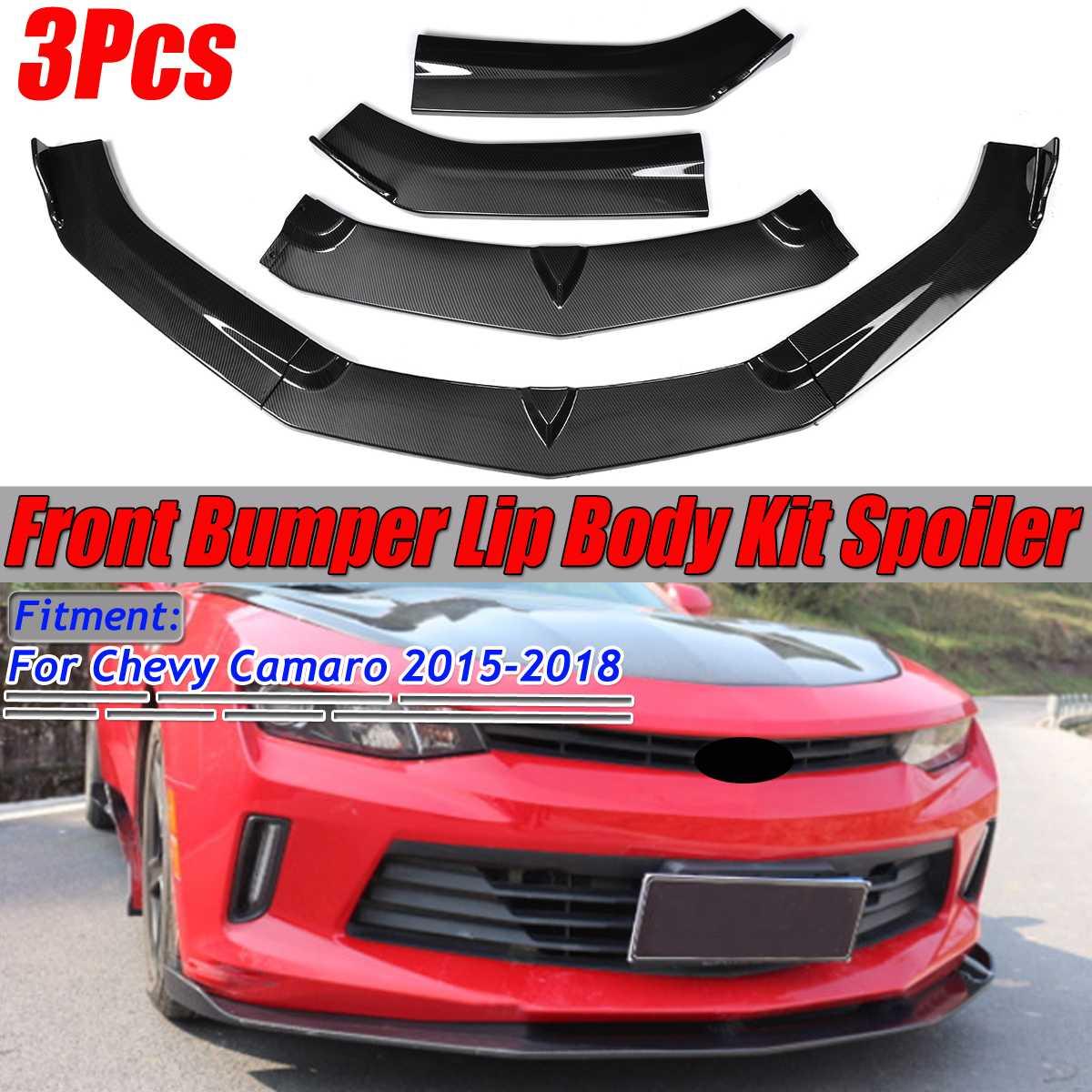 Con apariencia de fibra de carbono, parachoques delantero para coche, Deflector de labios, Kit de cuerpo, Spoiler, difusor de parachoques para Chevy para Camaro 2015-2018