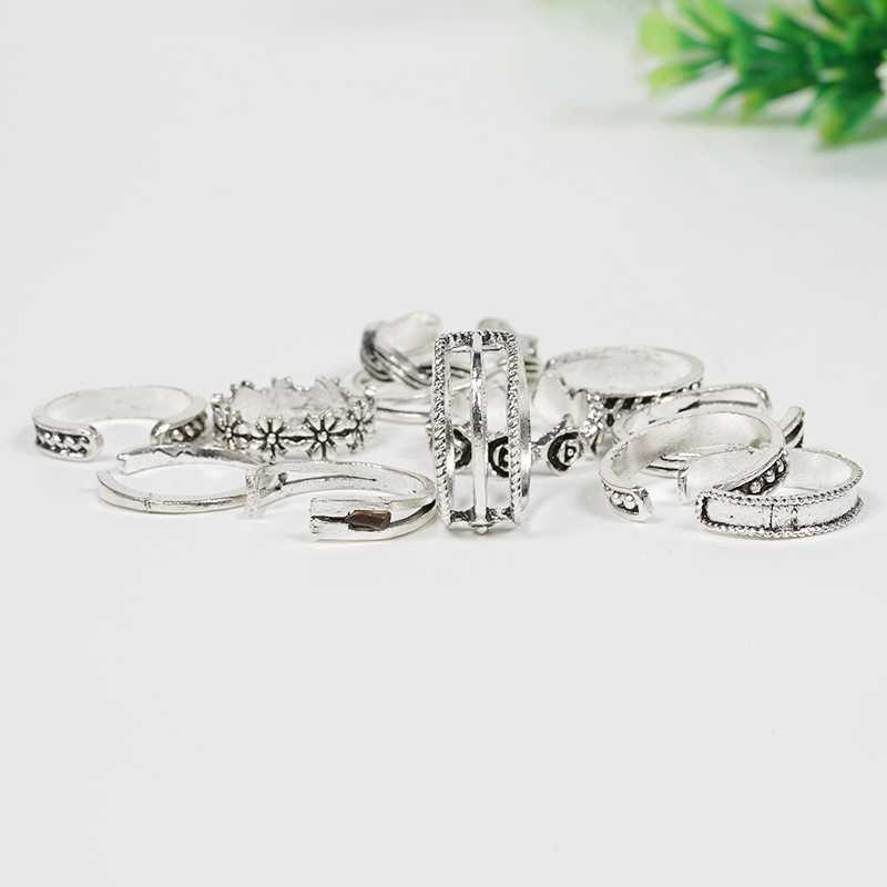 12 unids/set joyería de celebridad Retro plata ajustable dedo del pie del dedo del pie anillo abierto