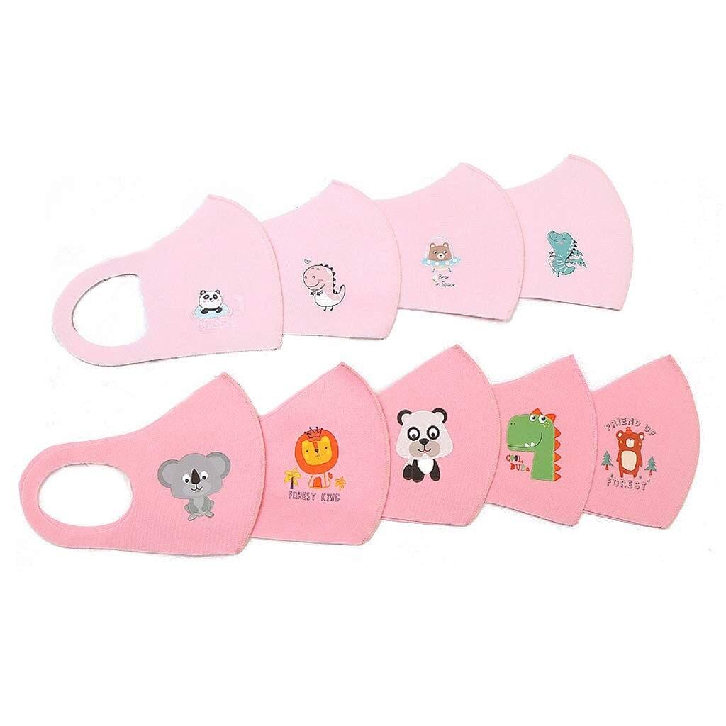 Mascarilla de algodón reutilizable para niños, 10 Uds., Maskking para protección de los gérmenes, transpirable, bonito estampado al azar de dibujos animados, pañuelo para niños