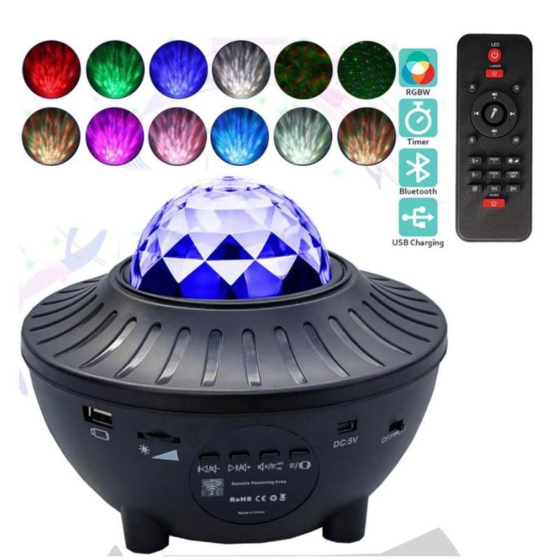 USB светодиодный Звездный проектор, Ночной светильник, звездная водяная волна, светодиодный проектор, светильник, проектор с Bluetooth, проектор ...