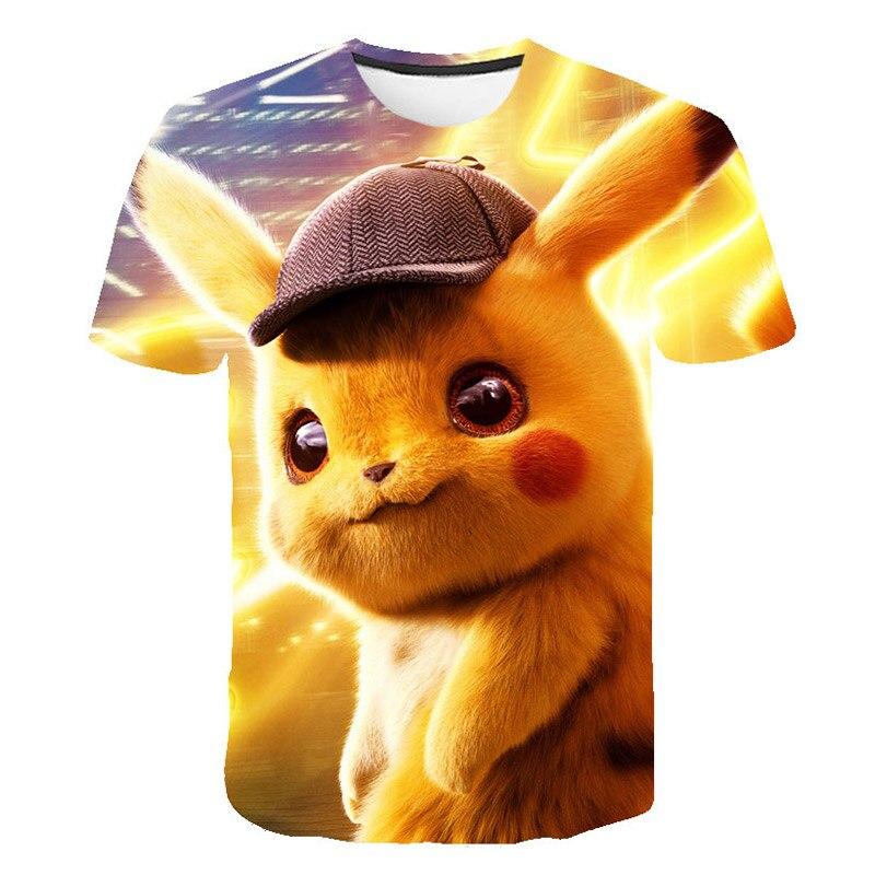 Camiseta pokemon go pikachu, camiseta estampada 3d para meninos e meninas