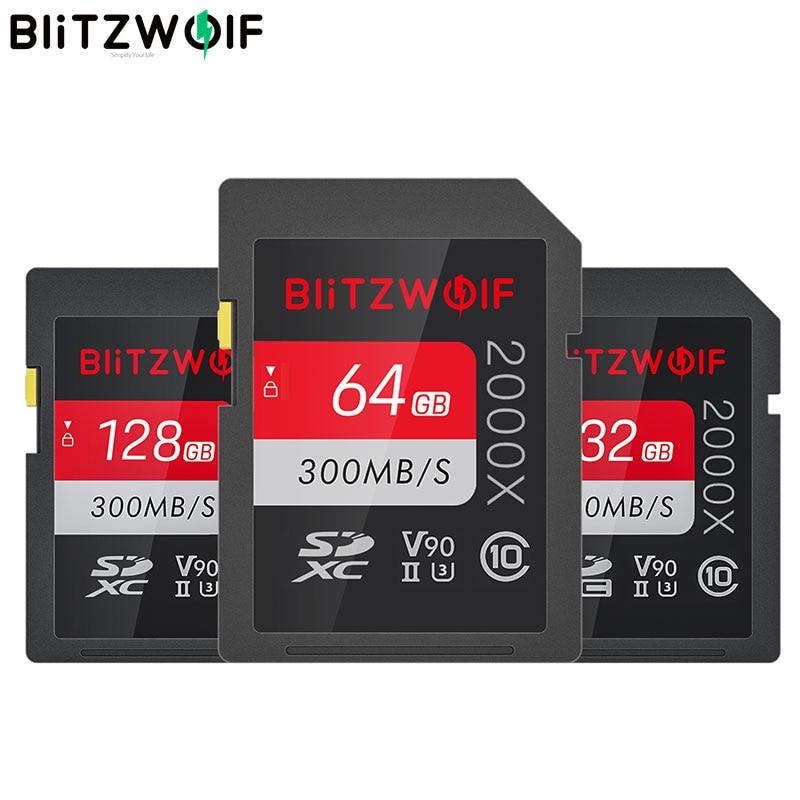 BlitzWolf BW-SDC1 UHS-II SD بطاقة الذاكرة U3 C10 V90 32 جيجابايت 64 جيجابايت 128 جيجابايت تخزين البيانات بطاقة ل 4K 8K MILC SLR كاميرا مسجل قيادة