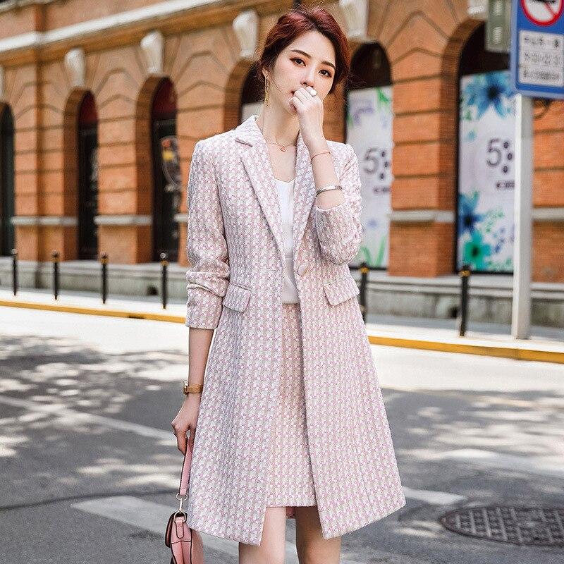 مزاجه عالية الجودة المرأة سترة تنورة اثنين من قطعة بدلة الشتاء أنيقة طويلة منقوشة السيدات سترة سليم احتواء تنورة الإناث