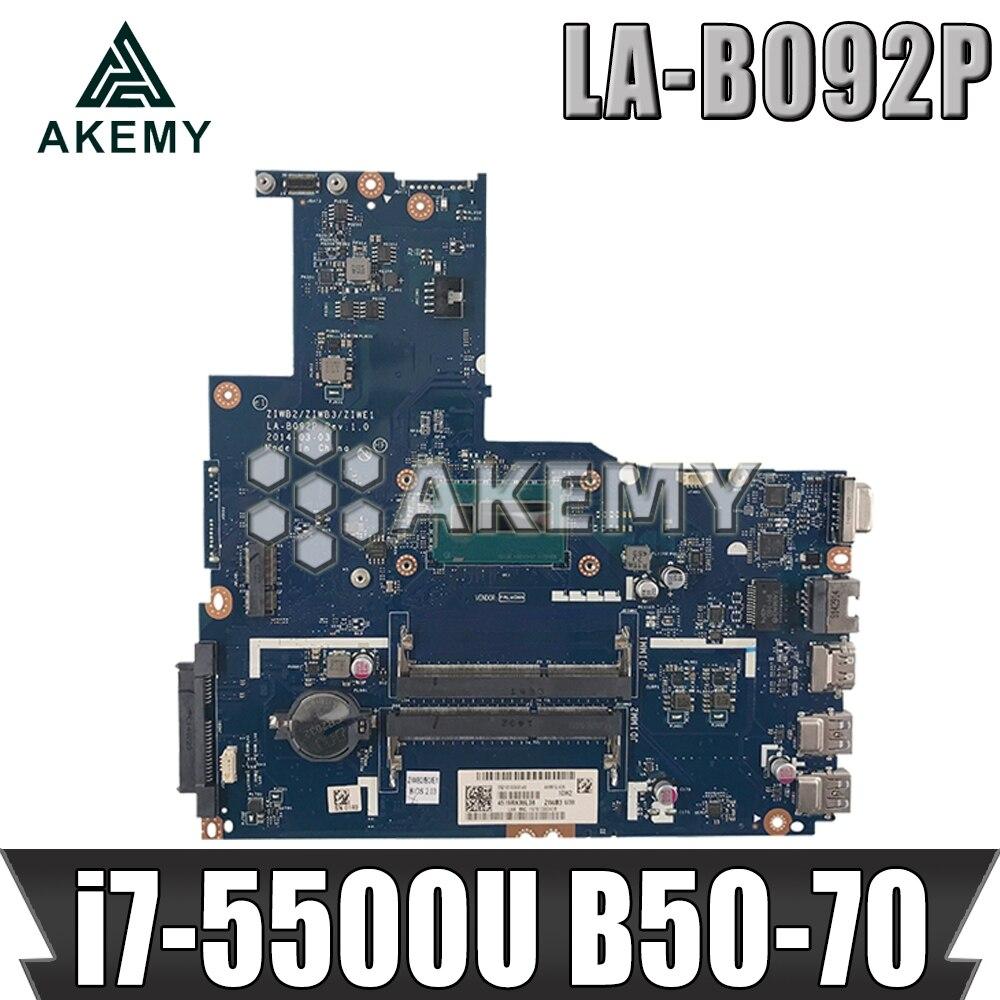 ZIWE1 / ZIWB2 / ZIWB3 LA-B092P для Lenovo B50-70 N50-70 материнская плата i7-5500U процессор Rev: 1 Материнская плата тесты