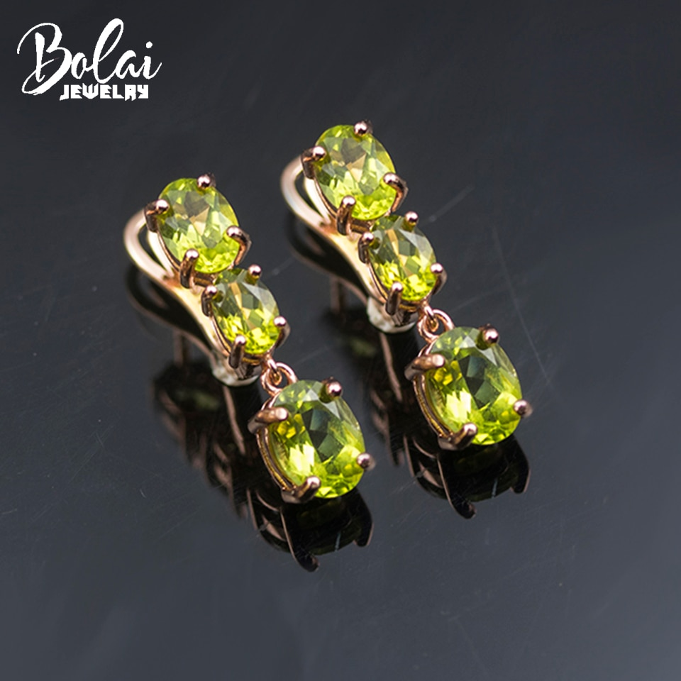 Promo Bolai Natural Peridot Clasp Earrings 925 Sterling Silver Rose Gold 3-stone Jewelry for Women Classic August Birthstone Gift 2021