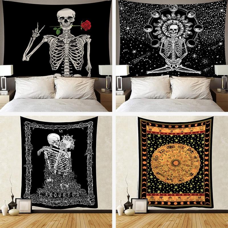Esqueleto tapeçaria parede pendurado quarto bruxaria jogar tapete sol tapeçarias arte psicodélica decoração para casa acessórios