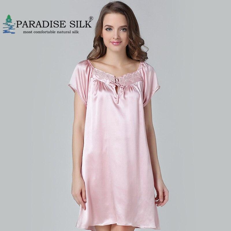 قمصان نوم حريرية 100% سادة من الحرير الخالص برقبة دانتيل وأكمام قصيرة قميص فساتين منزلية مقاس M L XL XXL