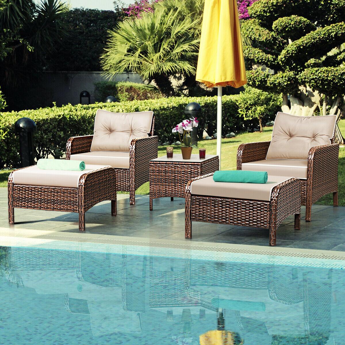 Costway 5 PCS Rattan Wicker Furniture Set Sofa Ottoman W/Brown Cushion Patio Garden Yard