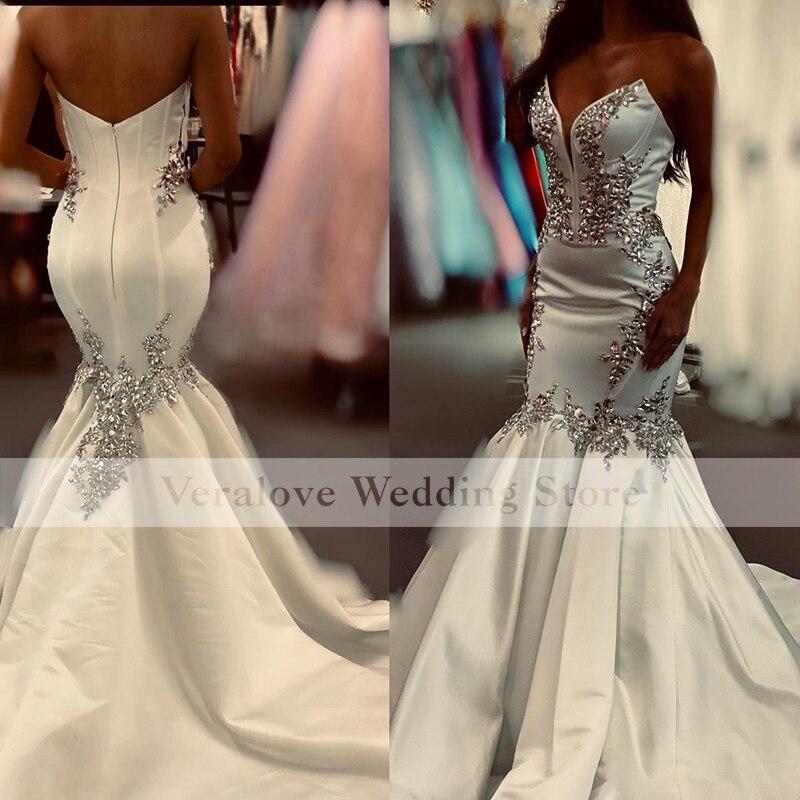Veralove Satin Wedding Dress Mermaid 2022 Sweetheart Bride Dress Lace Appliques Beading Customized Robe De Mariee