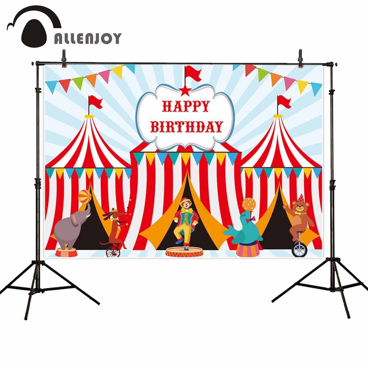 Allenjoy Feliz cumpleaños fiesta Photozone banderas tiendas de rayas payaso animales de dibujos animados mostrar Banner telón de fondo infantil circo fiesta cortina