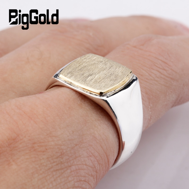Nuevo Producto, anillo de Plata de Ley 925 para hombre, anillo Vintage sencillo elegante de Color dorado con superficie cepillada cuadrada para hombre y mujer, joyería
